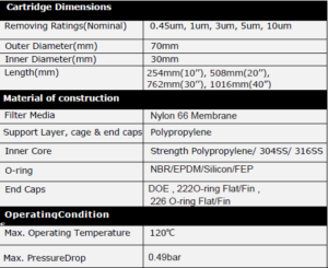 Nylon Membrane Pleated Filter Specification